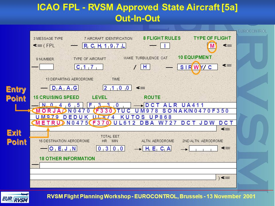 ICAO FPL - RVSM Approved State Aircraft [5a]